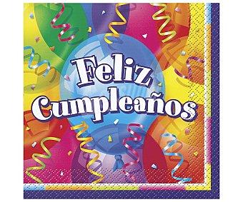 """PARTYGRAM Servilletas de papel modelo """"feliz cumpleaños"""", 33x33 centímetros 16 unidades"""