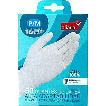 ALIADA Guantes desechables de látex alta adaptabilidad talla pequeña-mediana Caja de 50 unidades