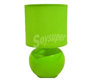 DUPI Lámpara sobremesa de cerámica y tela color verde modelo Isa para bombillas con casquillo E14 hasta 40 Wattios, 23,5x13 centímetros 1 unidad