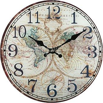 QUO Reloj de pared redondo 30 cm de mapa mundi