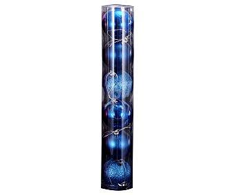 Actuel Set de 6 bolas de plástico para adornar de 6cm , de color azul,