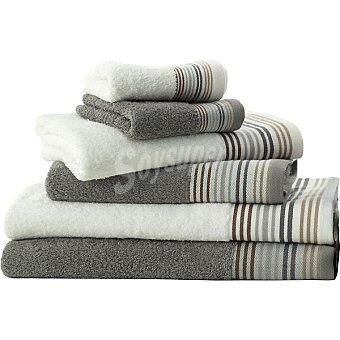 CASACTUAL Sonia juego de 6 toallas con cenefa en color blanco y gris