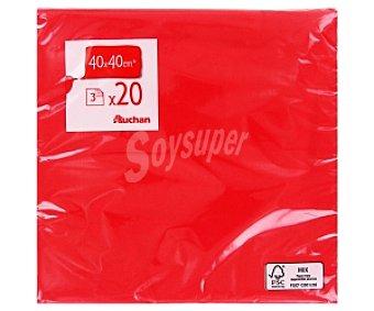 AUCHAN Servilletas 40x40cm, 3 capas, rojas 20 Unidades