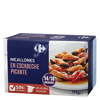 Carrefour Mejillones en escabeches picantes 14/18 - Sin Gluten 69 g