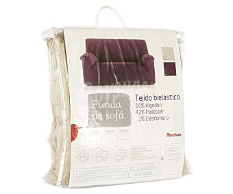 Auchan Funda elástica de chenilla para sofá de 1 Plaza, modelo caribe, color crudo 1 Unidad