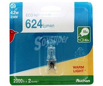 Auchan Bombilla ecohalógena cápsula 42W, casquillo G9 y luz cálida 1 unidad