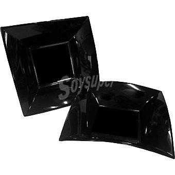 Casactual Plato hondo cuadrado negro 18 x 18 cm paquete 6 unidades