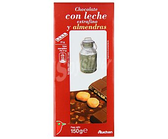 Auchan Chocolate con leche y almendras extrafino 150 Gramos