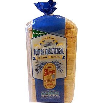EL CORTE INGLES pan de molde blanco 100% natural con corteza 16 rebanadas  bolsa 460 g