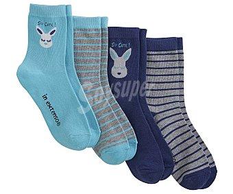 In Extenso Lote de 4 pares de calcetines de niña color surtido, talla 35/38