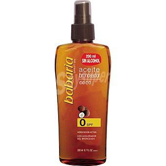 BABARIA aceite bronceador coco FP-0 hidratación activa spray 200 ml