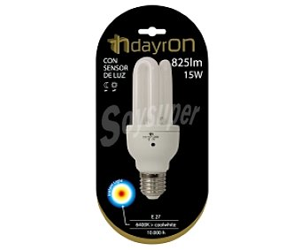 DAYRON Bombilla de bajo consumo con sensor 15 Watios, con casquillo E27 (grueso) y luz fría 1 unidad