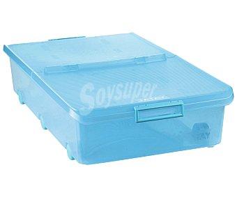 Tatay Caja de ordenación con tapa y ruedas, color turquesa, capacidad de 63 litros