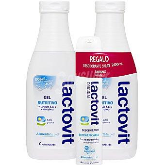 LACTOVIT gel de baño nutritivo con doble de vitaminas y proteínas de la leche + desodorante spray 200 ml pack 2 bote 600 ml