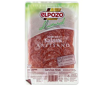 ElPozo Salami artesano de calidad extra, sin gluten, sin colorantes ni conservantes 80 gr