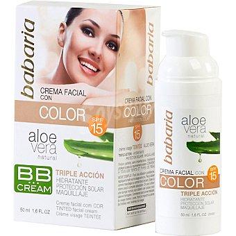 Babaria Crema facial con color con aloe vera BB FP-15 triple acción Envase 50 ml