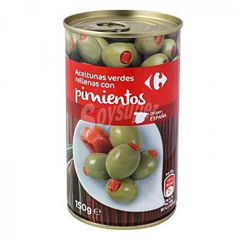 Carrefour Aceitunas verdes rellenas con pimientos 150 G 150 g