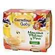 Tarrito de manzana, plátano y pera desde 6 meses sin gluten Pack de 2 unidades de 250 g Carrefour Baby