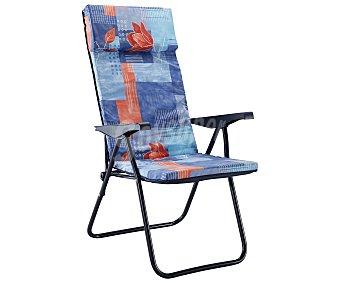 EREDU Tumbona plegable con 5 posiciones para camping y playa. Fabricada en acero, con asiento de tela acolchado de 3 centímetros y posabrazos liso 1 unidad