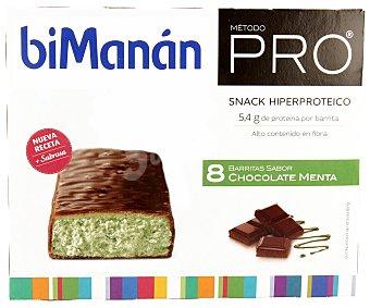 Bimanan Barritas con sabor a chocolate y menta hiperprotéicas e hipercalóricas para una dieta de reducción de peso 8 unidades