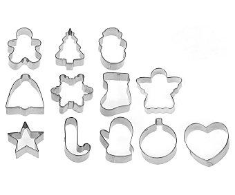HABI Set de 12 cortadores o moldes con formas surtidos fabricados en acero inoxidable pack de 12 unidades