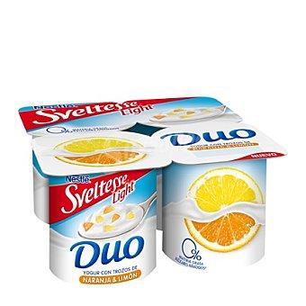Sveltesse Nestlé Yogur Light Duo con trozos de naranja y limón Pack de 4 Unidades de 125 Gramos