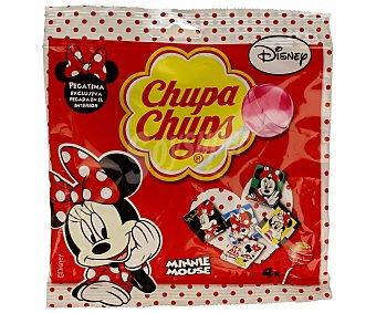 Chupa Chups Caramelos con palo de diferentes sabores (pegatina exclusiva de Minnie Mouse) 4 unidades