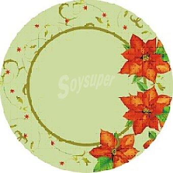 PAP STAR plato cartón redondo Christmas Flower 23 cm  paquete 10 unidades
