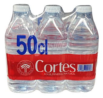 Cortes Agua mineral natural 6 botellas de 500 ml - 3000 ml