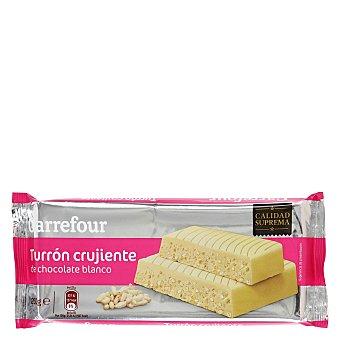 Carrefour Turrón de chocolate blanco crujiente 260 g
