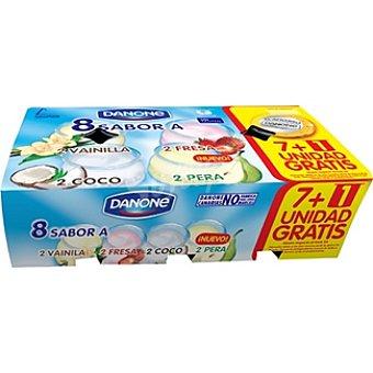 Danone Yogur sabores 2 fresa + 2 coco + 2 vainilla + 2 pera Pack 8 unidades 125 g