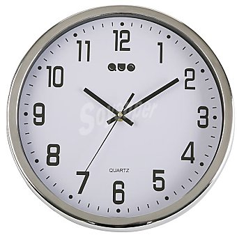 QUO Reloj de pared redondo 30 cm en color plata y blanco