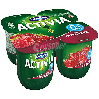 DANONE ACTIVIA Yogur desnatado con frutos rojos 0% materia grasa pack 4 unidades 125 g
