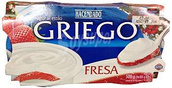 Hacendado Yogur griego natural azucarado con fresa Pack 4 x 125 g - 500 g