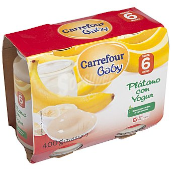 Carrefour Baby Tarrito plátano con yogur Pack 2x200 g