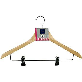 UNIT Percha de madera combinada con barra metalica para faldas