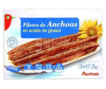 Auchan Filetes de Anchoas en Aceite Vegetal Lata 3 Unidades