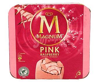 Magnum Helado de frambuesa recubierto de chocolate 3 unidades de 100 ml