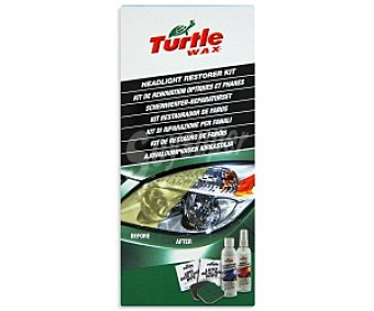 TURTLE Wax El kit restaurador de faros esta compuesto de: 1 paño sellador de lentes, 1 bote de lubricante,1 bote de compuesto clarificador para eliminar microrayas,1 toallita para sellar las lentes del faro y almohadillas de restauración para eliminar la oxidación intensa 1 unidad