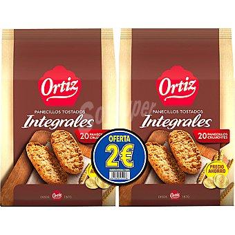 Ortiz panecillos tostado integrales (formato ahorro) pack 2 paquete 225 g
