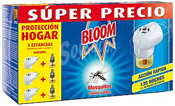 Bloom Insecticida volador eléctrico antimosquitos común y tigre pack 3 aparatos + 3 recambios Pack 3