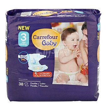 Carrefour Baby Pañal T3 de 4 a 9 kg. Midi 38 ud