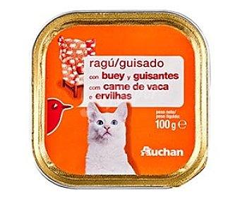 Auchan Alimento Humedo para Gato. Guisado Buey y Guisantes Tarrina de100 Gramos