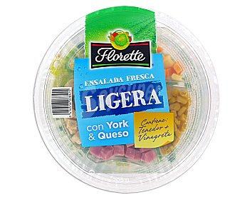 Florette Ensalada Completa ensalada ligera con york & queso (contiene tenedor + vinagreta) tarrina 205 g