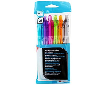 AUCHAN Pack de 6 Portaminas de colores para minas de 0,7 milímetros 6 Unidades