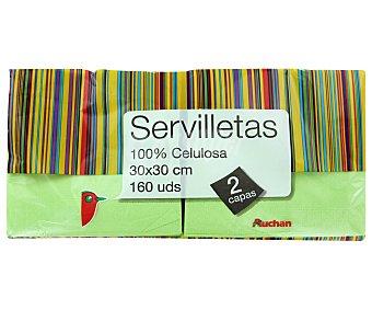 Auchan Servilletas salmon/celeste 30x30 Centímetros 2 Capas 160 Unidades