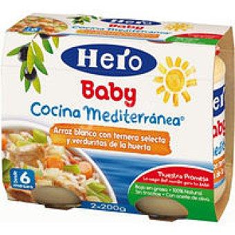HERO Crema arroz ternera seleccion verduras huerta 2x200gr