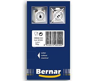 BERNAR Báscula mecánica de cocina modelo Omega, de 5 gramos a 1 kilo de peso, Incluye bol 1 unidad