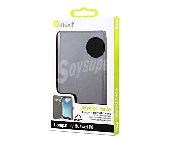 MUVIT Funda con tapa Wallet negra, válida para Huawei P8