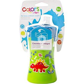 Taza Dino con boquilla flexible de silicona con tapa integrada +9 meses envase 300 ml